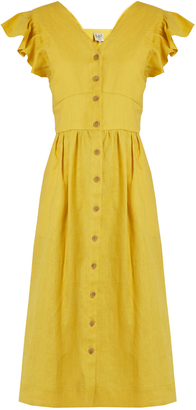 SEA Ischia ruffled-sleeve linen dress $386 thestylecure.com