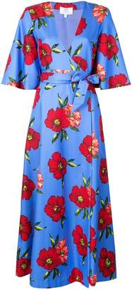 Rebecca De Ravenel floral print wrap dress