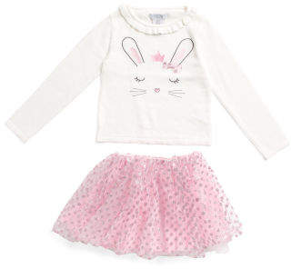 Little Girls Bunny Sweater With Ruffle Skirt
