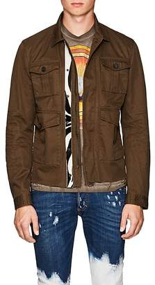 DSQUARED2 Men's Leather-Trimmed Cotton Twill Military Jacket