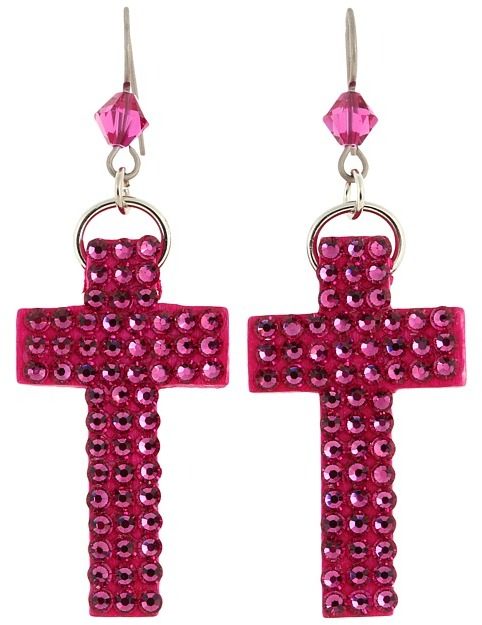 Tarina Tarantino Micro Pave Cross Earrings (Tarina Pink) - Jewelry