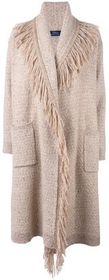 Polo Ralph Lauren fringed single breasted coat $707.17 thestylecure.com