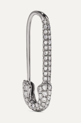 Anita Ko Safety Pin 18-karat Blackened White Gold Diamond Earring
