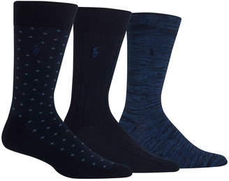 Polo Ralph Lauren Men's Diamond Dot Dress Socks, 3 Pack