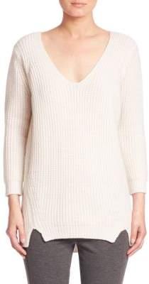 Elie Tahari Violetta Rib-Knit Cashmere & Wool Sweater