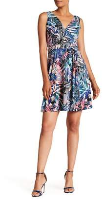Nicole Miller Surplice V-Neck Print Dress