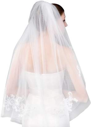 Cibelle 2T Short Beaded Tulle Lace Bridal Veils With Comb For Wedding Ivory