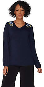 Susan Graver Weekend Stretch Cotton Modal Topw/ Embroidery