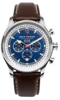 Jack Mason Nautical Stainless Steel& Italian Leather Sunray Dial Chronograph Strap Watch