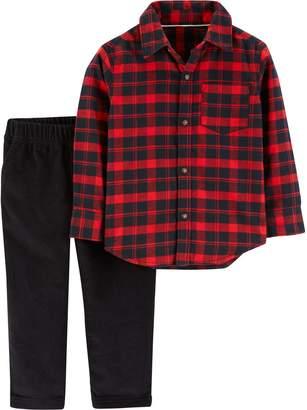 Carter's Toddler Boy Plaid Button Down Shirt & Fleece Pants Set
