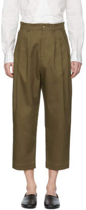Hed Mayner Khaki Four Pleat Trousers