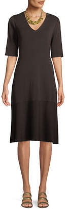Eileen Fisher V-Neck Short-Sleeve Tencel® A-line Dress, Plus Size