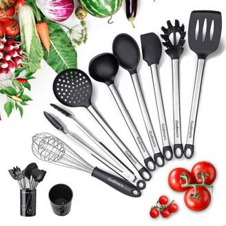 Kadell 9Pcs Silicone Kitchen Utensil Set Cooking Utensil Nonstick Kitchen Tool with Plastic Holder, Stainless Steel Heat Resistant and Nonstick Cooking Gadgets Tool black BPA Free