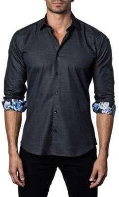 Jared Lang Printed Long-Sleeve Trim-Fit Button-Down Shirt