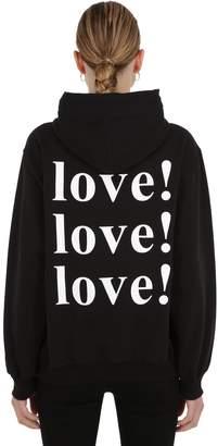 MSGM Love Printed Jersey Sweatshirt Hoodie