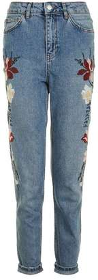Topshop Moto floral embroidered mom jeans $110 thestylecure.com