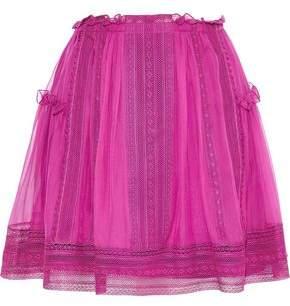 Alberta Ferretti Crochet-trimmed Gathered Silk-chiffon Mini Skirt