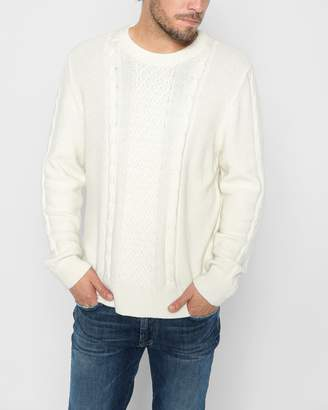 7 For All Mankind Cableknit Crewneck Sweater in Ivory