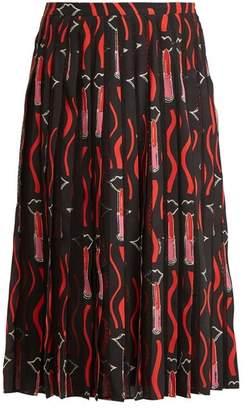 Valentino Lipstick Print Silk Crepe Midi Skirt - Womens - Black Print