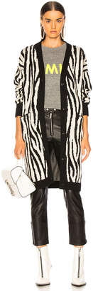 Amiri Zebra Long Cardigan in Black & White | FWRD