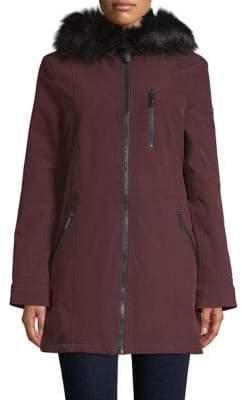 Calvin Klein Faux Fur Trim Soft Shell Coat