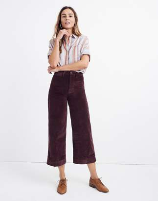 Madewell Tall Emmett Wide-Leg Crop Pants in Velveteen