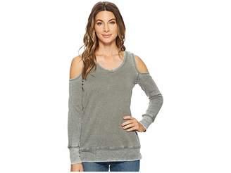 Allen Allen Long Sleeve Cold Shoulder V-Neck Sweatshirt Women's Sweatshirt