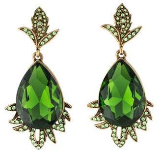 Oscar de la Renta Crystal Teardrop Leaf Drop Earrings