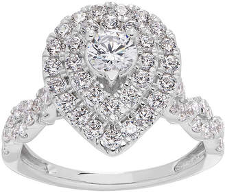 GROWN WITH LOVE Grown With Love Womens 1 1/4 CT. T.W. Lab Grown White Diamond 14K White Gold Pear Engagement Ring