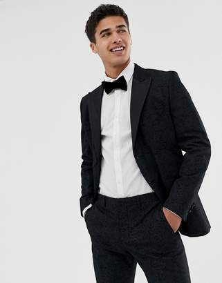 Jack and Jones tuxedo suit jacket with printed paisley jacquard in skinny fit