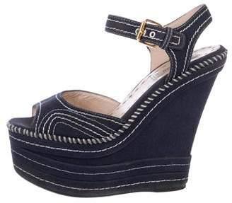 Miu Miu Canvas Wedge Sandals
