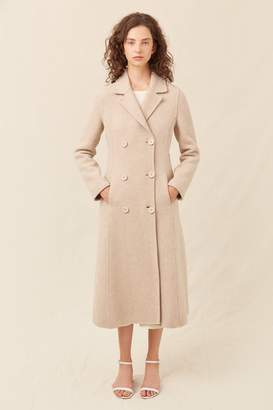 Mansur Gavriel Boiled Wool Double Breasted Coat - Beige Melange