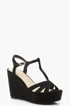 boohoo Sarah T Bar Cross Strap Wedges