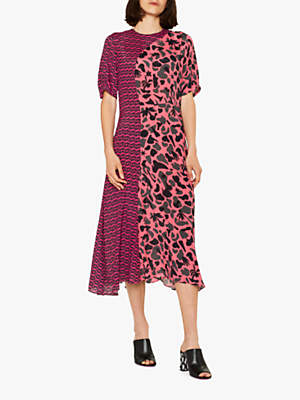 Paul Smith Urban Fox Camouflage Print Dress, Pink/Charcoal