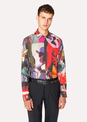 Paul Smith Men's Slim-Fit 'Rose Collage' Print Cotton-Blend Shirt
