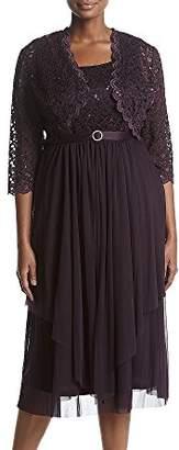 R & M Richards R&M Richards Women's 2 Piece Lace Hankie Collarless Jacket Dress Plus