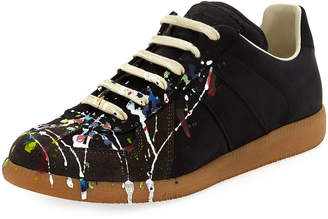 Maison Margiela Men's Splatter-Print Painter Low-Top Sneakers, Black Pattern