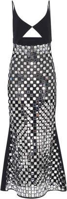 David Koma Sheer Embroidered Camisole Midi Dress