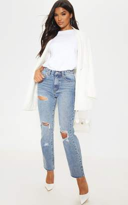 PrettyLittleThing Mid Wash Straight Leg Jeans