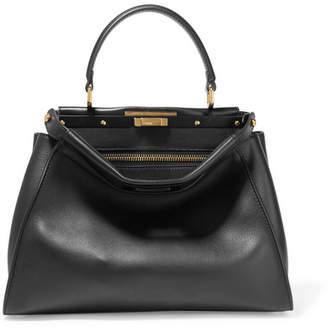 Peekaboo Medium Leather Tote - Black