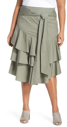 Vince Camuto Tiered Ruffle Belted Skirt