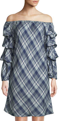 Max Studio Off-The-Shoulder Balloon-Sleeve Plaid Dress
