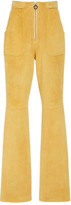 Sally LaPointe Zip Front Flared Suede Pants
