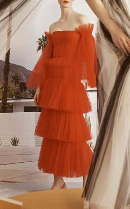 Carolina Herrera Off-Shoulder Pleated Tulle Dress