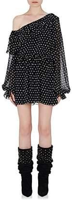 Saint Laurent Women's Ruffle Silk Off-The-Shoulder Dress - Wht.&blk.