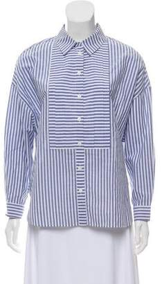 Burberry Striped Three-Quarter Sleeve Blouse