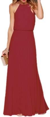 Yacun Women's Halter Sleeveless Floor-Length Pleated Party Bridesmaid Dress XL