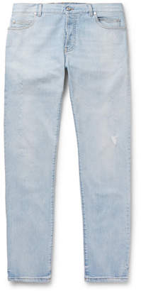 Balmain Tapered Distressed Denim Jeans - Men - Blue