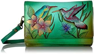Anuschka Anna by Women's Genuine Leather Flap-Over Cross Body | Hand Painted Original Artwork | Birds In Paradise