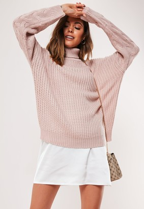 Missguided Petite Pink Roll Neck Cable Sleeve Knitted Jumper